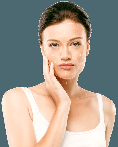 Silk'n FaceTite kezelési területek